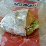 "My ""beat up"" hamburger. YUCKY looking."