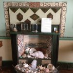 Fireplace border made from feathers