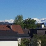 Snow capped Alpine mountains