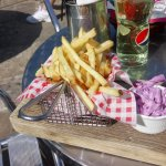 Burger, chips and pink coleslaw