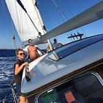 A really good sailing day in Cala d'Or with Agnes our 1st mate, holding on tight.