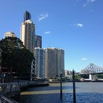 day view of buildings and Storey bridge