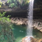 View of the waterfall as you approach Hamilton Pool