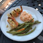 Stuffed shrimp with red pepper cheese mashed potatoes.