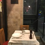 table to dine at front door