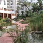 The water garden separating the hotel from the pool area