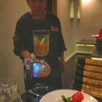 Chef preparing the Tom Yum Lobster at our table