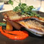 Pan seared Meyler's sea bass fillet,