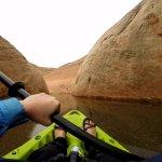 Kayaking through a narrow section of the lake.