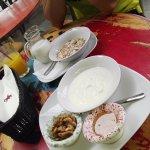 Yogurt and nuts & muesli with milk