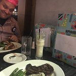 Piña colada was average and melted and steak was over cooked interior and sides not warm :( but