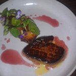 Foie gras with stone fruit, crostini and cherry gastrique. Seared perfectly.