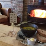 Soup and log fire at The Rusty Bike Cafe
