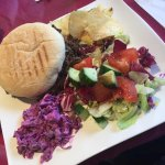 Burger, Haggis, salad, crisps and their famous pink coleslaw. Lush! Pic really doesnt do it just