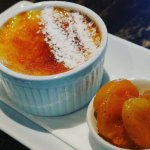 Creme brulee with poached apricots