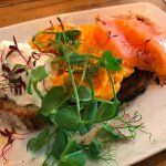 Salmon scrabbled eggs on toast