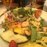 My salad, prawns, avocado and lots more including fruit....I ate it all!
