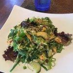 Tempura udon soup, spurs roll, calamari, monkey bomb, crab avocado salad