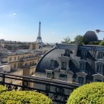 An unimpeded view of the Eiffel Tower from rooftop terrace, Hotel Raphael.