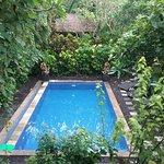 Vue sur la piscine, le jardin tropical et au fond le paradis pour les massages