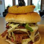 We call this the Viking Burger.  3 1/4lb patties, three cheeses, ham, bacon, and pastrami.