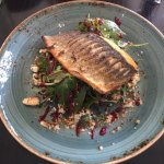 Sea bass with toasted goats cheese and beat root