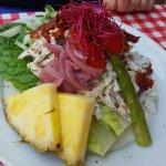 Falafel salad and chicken salad smørrebrød.