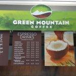 The cafe drink menu