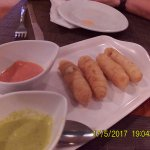 Tequeños , small deep fried cheese with dipping sauce, 2 already eaten..lol