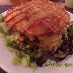 Patacón Pepiado, chicken salad and avocado between crispy plaintains
