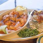Shrimp Scampi with a Loaded Potato.