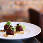 DRIEVIEW LAMB MEATBALLS Gremolata, Sour Cherry, Pine Nuts, Hummus