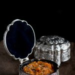Gajar Halwa served in a traditional jewellry box. Carrot pudding served in jewellery box