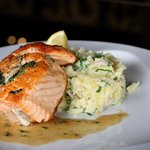 Salmon (spinach, goat cheese), mashed potatoes