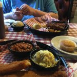 (foreground) Catfish and (background) St. Louis-style ribs are both very good