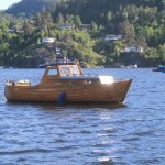 Our old wooden boat brings fresh bread to our guests in their cabins two times a week in july