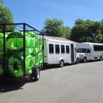 Our transport shuttle vehicles loaded down with tubes accommodating our large tubing group.