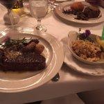 NY Strip Steak, Fingerling Potatoes, Mushroom Ragout and Crab Cake