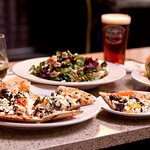 Truffle Mushroom Pizza and Walnut Gorgonzola Salad paired with a Jenny Lake Lager.
