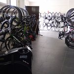 Bike garage with excellent facilities - locks, washer, dryer, tools, water, hose !!!