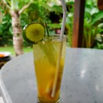 Delicious coctail from lime juice, lemongrass, honey and ginger