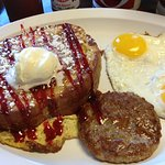 Stuffed french toast with sausage and eggs