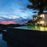 Sunset at Gaia´s 3-tiered infinity pool