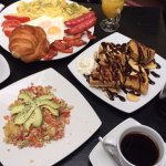 Veggie scramble and americano for me, English breakfast for my friend and the waffles to share!