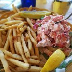 Large lobster roll with fries