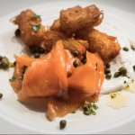 Tots n' Lox - house-cured salmon, crispy tater tots, dill cream, capers