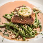 NY Strip, Blue Lake Green Beans, Blue Cheese Butter, Veal Au Jus