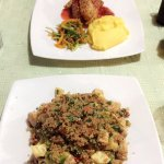 Chaufa de quinoa for me and the quinoa crusted chicken with strawberry sauce for my friend! Yum!