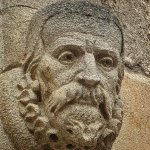 Portrait head on the wall of the courtyard outside the Bodleian Library