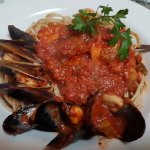 Seafood on whole wheat pasta